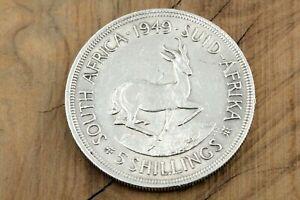 South-Africa-1949-5-Shillings-Silbermuenze-Suid-Afrika-Georgius-Sextus-Rex-28-22g