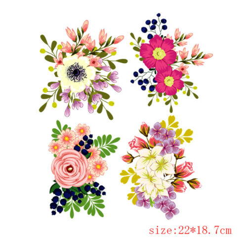 Flowers clothes patches heat transfer stickers printing iron on appliques Sl