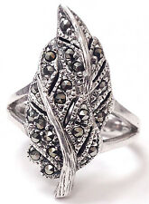 Sterling Silver 925 Tree Design Marcasite Gem Women's Ring Size 9