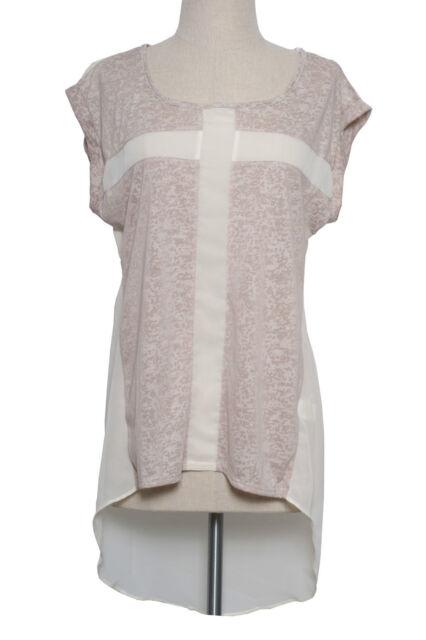 Asymmetric Burnout Cross Cut Chiffon Tunic Top Hi Low Hem Sheer Blouse T-Shirt