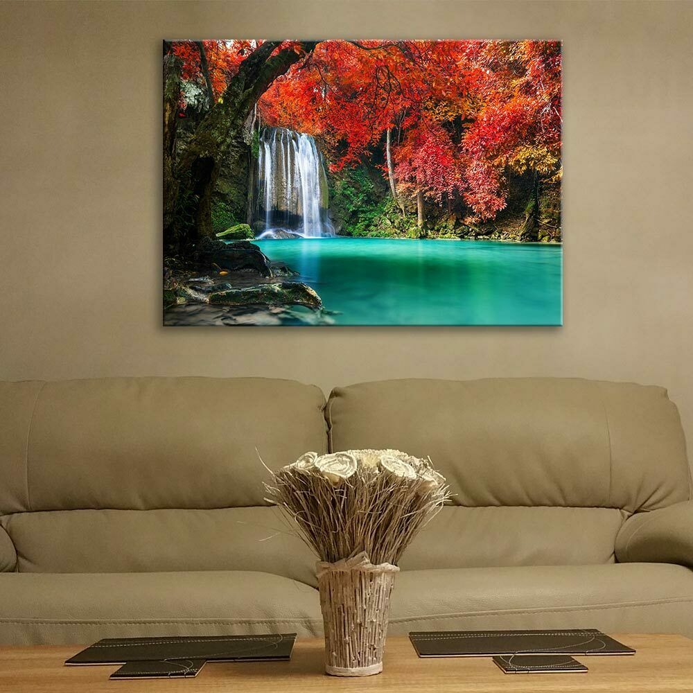 Glass Picture Toughened Wall Art Waterfall Forest Trees Nature Thailand Any Größe