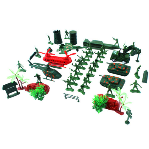 52 Pieces Military Base Playset 4cm Soldiers Army Men Accessories Playset