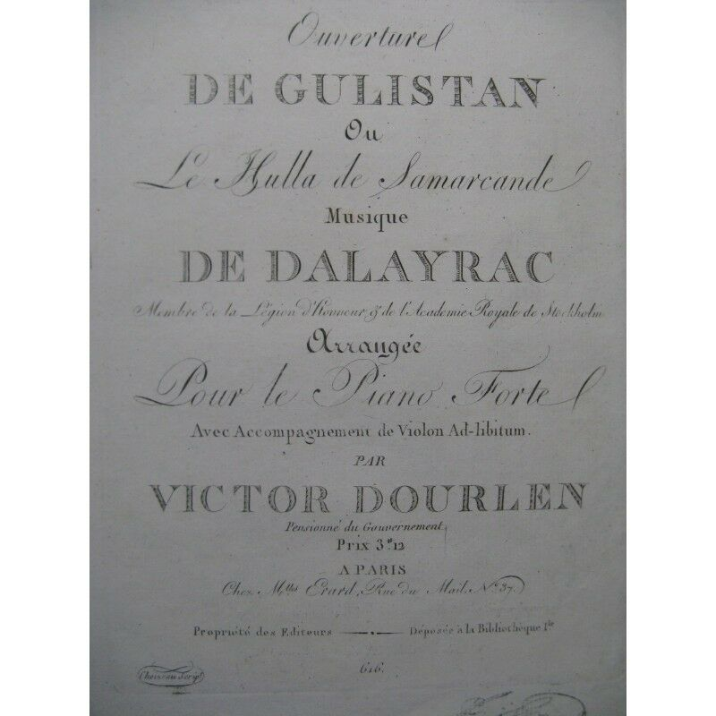 Dalayrac Nicolas Gulistan Öffnung opéra Violine Piano ca1820 Partitur -blatt MU