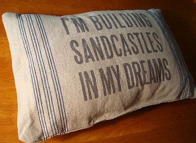 BUILDING SANDCASTLES IN MY DREAM Nautical Blue Sailboat Beach Decor Throw Pillow