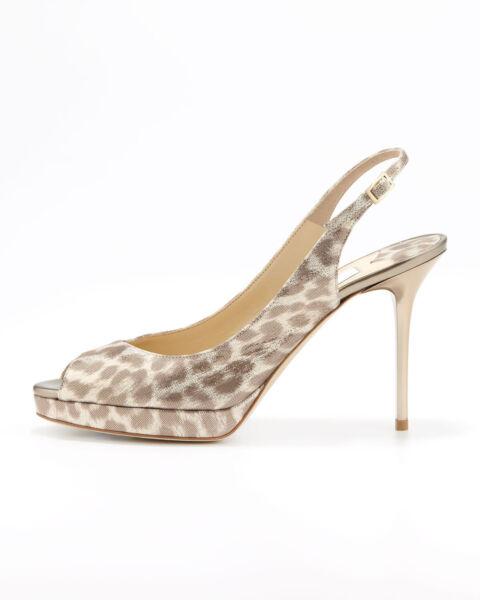 42b59d42cd0 Jimmy Choo Nova Leopard-Print Shimmer Suede Slingback Pumps ( Size 38--8.  Hover to zoom