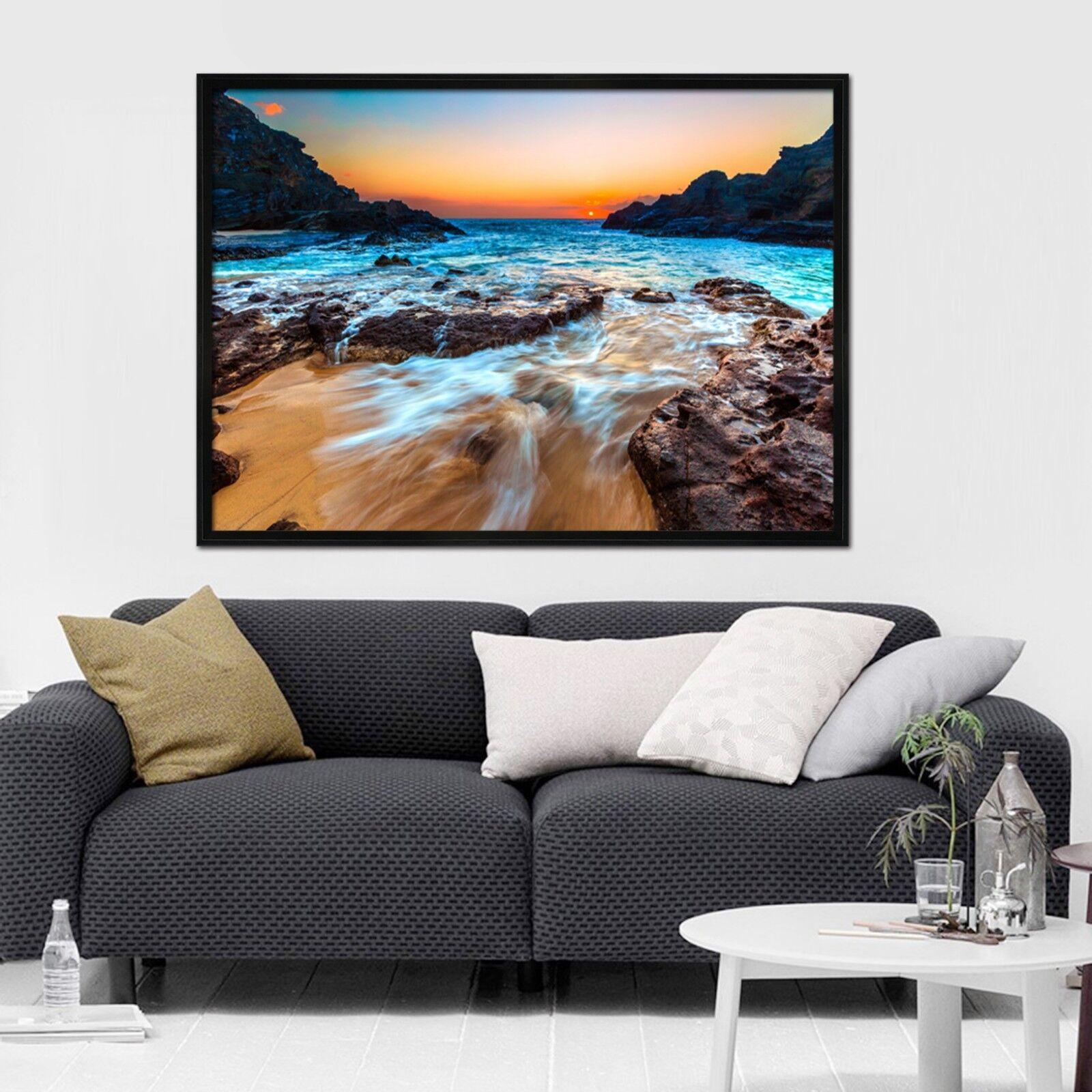 3D Sunset Beach 3 Póster Enmarcado De Piedra Decoración del Hogar Pintura de Impresión Arte AJ Wallpaper