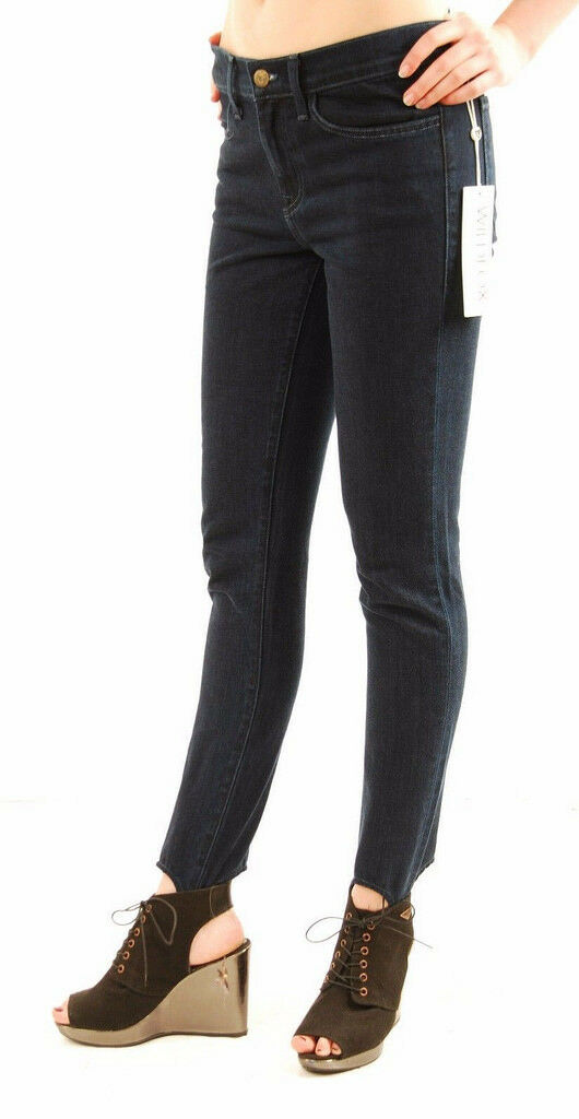 Wildfox Womens Sloane Mid Rise Skinny Stirrup Nightcap Jeans Size 30 Dark bluee