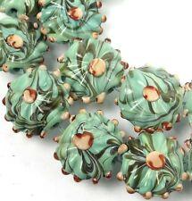 20mm Lampwork Handmade Glass Green Rain Forest Lentil Beads (8)