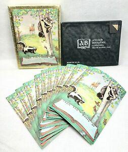 Vintage-Antioch-Bookplates-Set-Of-10-Raccoon-amp-Skunk