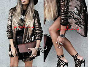 Sequin Blazer Taglia Open Zara M New Coat Copper awBzzZ