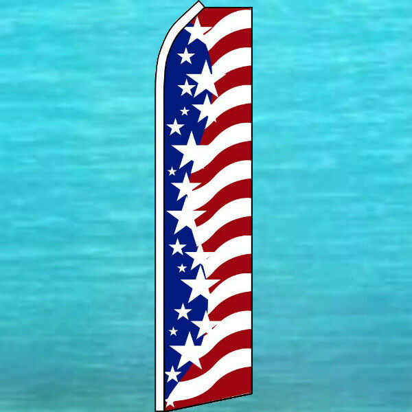 USA AMERICAN STAR SPANGLED BANNER FLUTTER FLAG Tall Curved Top Feather Swooper