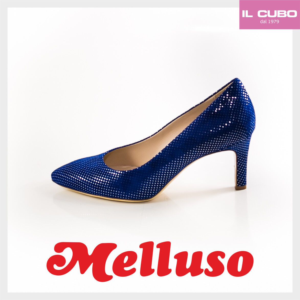 MELLUSO SCARPA women DECOLTE' CAMOSCIO color blueETTE TACCO H 7 CM MADE IN ITALY