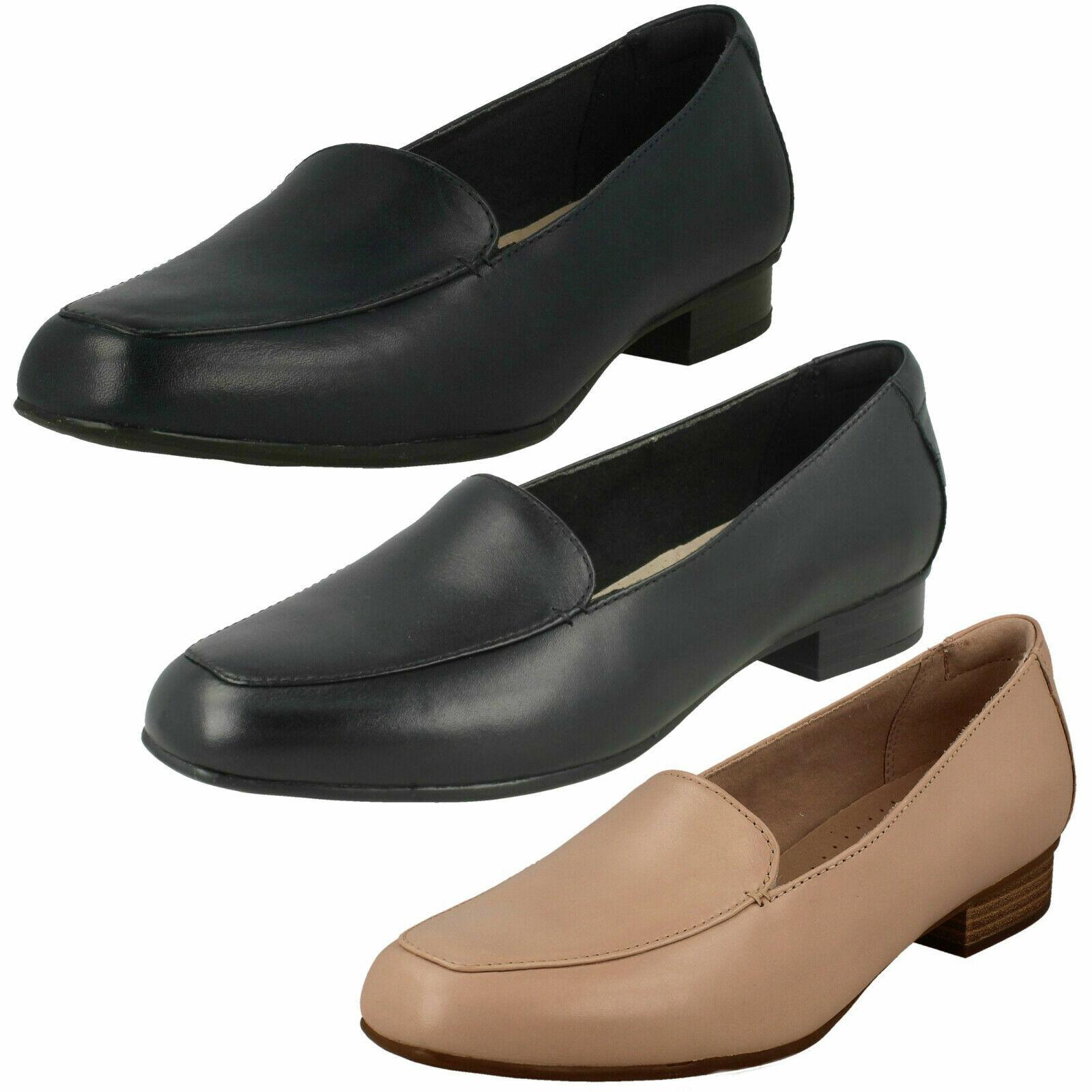 Femmes Clarks Juliet Lora Cuir Smart À Enfiler chaussures E fitting