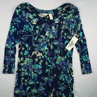 Jolie Femme 3/4 Sleeve Blouse Turquoise Teal Floral Scoop Neck Tunic Dress S