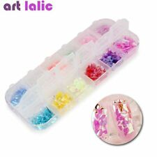 Nail Art Glitter Candy Color Ice Mylar Shell Foil Flakes Gel Tips Decoration