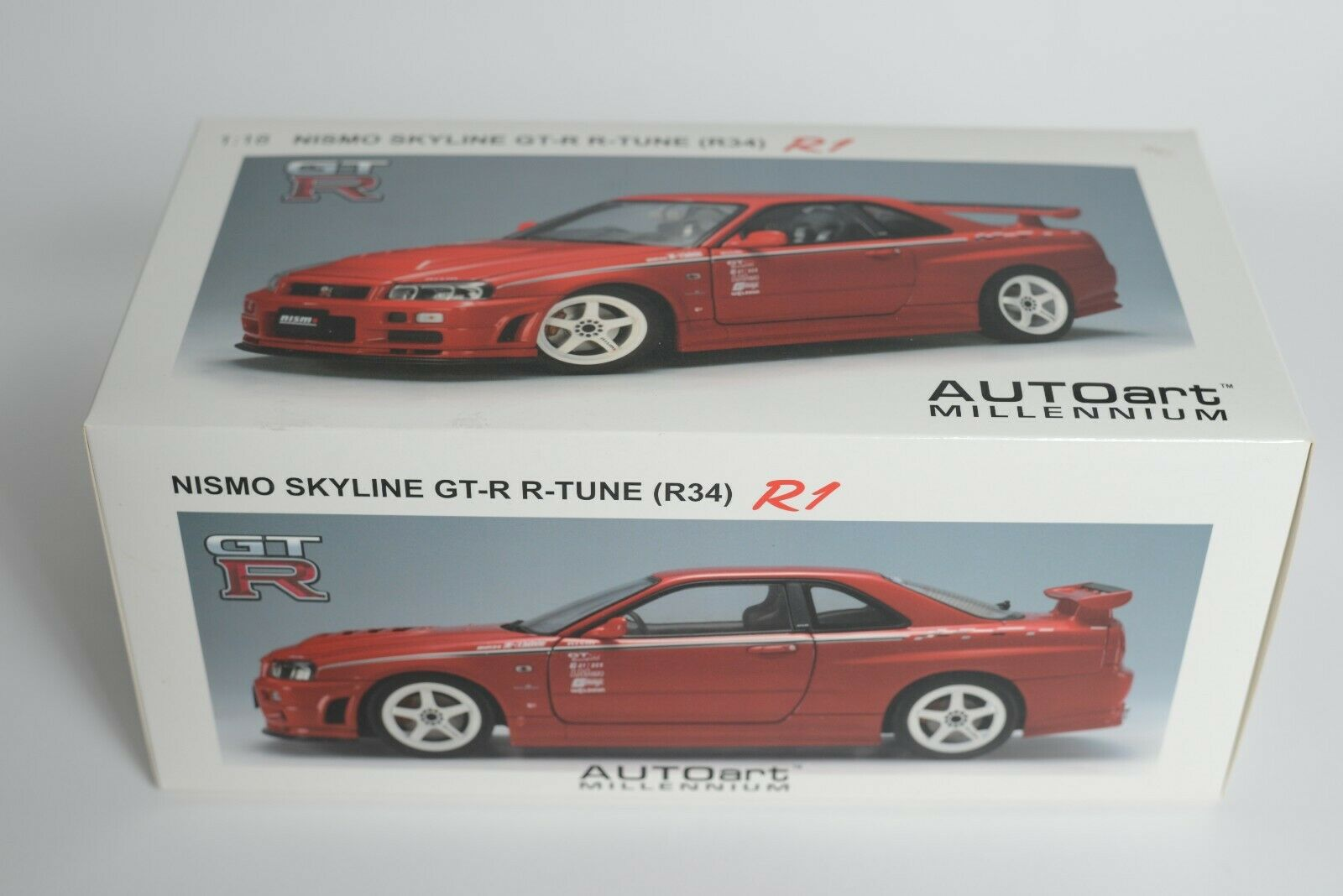 1 18 Nissan Skyline GT-R R34 Nismo R-Tune rosso Diecast Model AUTOart 77357