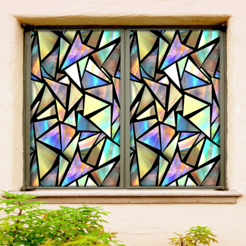 Details about  /3D Fluorescent Triangle ZHUA359 Window Film Print Sticker Cling Stained Glass UV