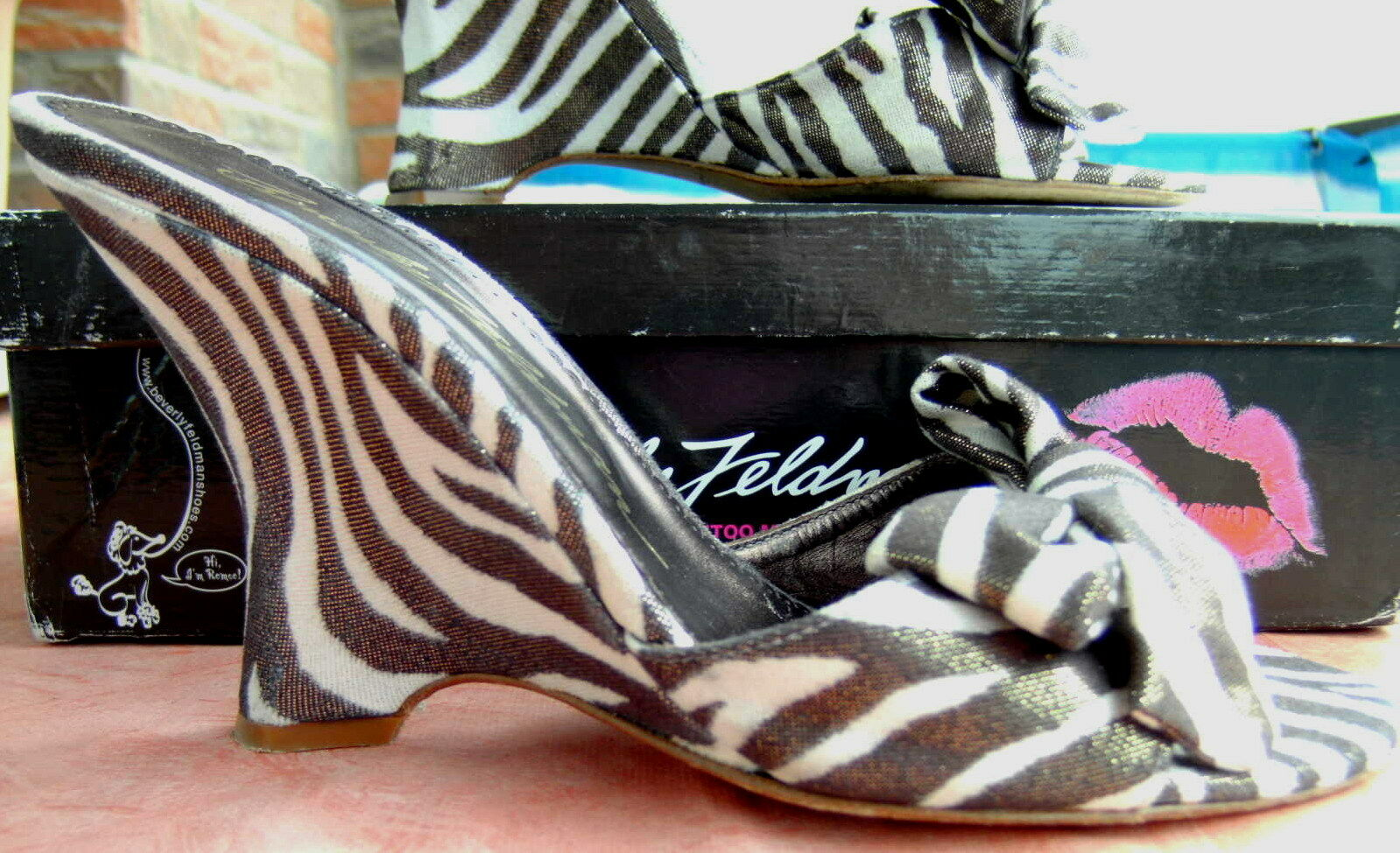 Beverly Feldman High Heel Wedge Zebra Seide Gr 39    Armband* gratis