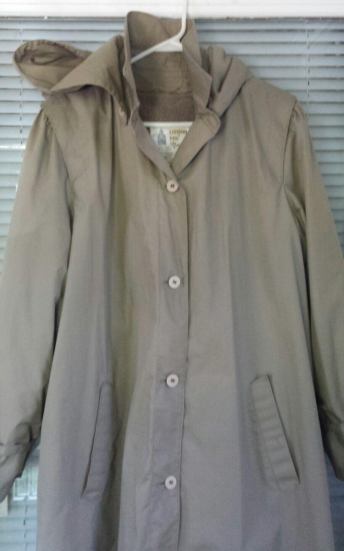 VTG London Fog Maincoats Women's Size 18 reg. Hooded Trench Overcoat Tan Lined