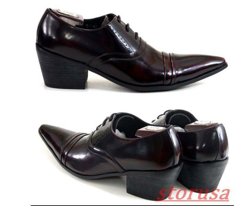 Mens Cuban Heels British Business Lace Up shoes Cuban Heels Formal Dress shoes
