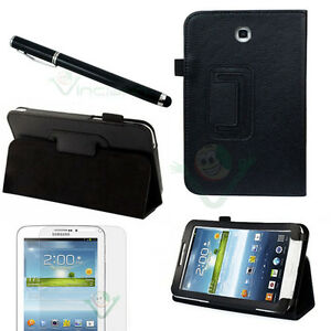 Pellicola-Pennino-Custodia-pelle-NERA-Stand-per-Samsung-Galaxy-Tab-3-7-0-7-T2100