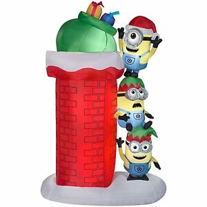Airblown Self-Inflatable Minions w/ Chimney Gemmy Christmas Light ...
