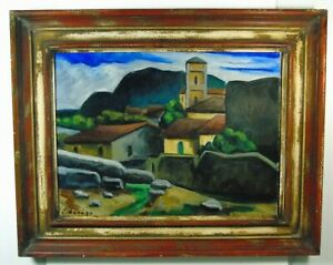 Fernand-Deveze-034-prima-gebirgsmassiv-raffigurato-automobilisti-citta-034-olio-firmato