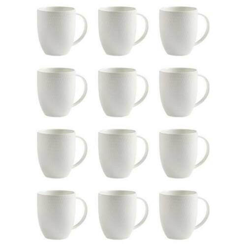 12er SET Becher Tasse DIAMONDS ROUND für 400ml weiß Porzellan Maxwell & Williams