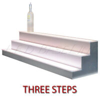 20 3 Tier Led Lighted Liquor Display Shelf - Stainless Steel Finish