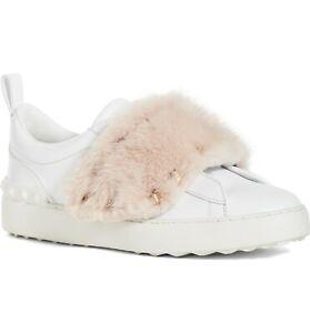 VALENTINO-GARAVANI-Rockstud-Genuine-Mink-Fur-Sneakers-Gold-Studs-Shoes-41