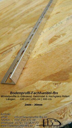 Winkelprofile Fliesenprofil V2A GLÄNZEND 8mm 30mm L-Profil Winkelschiene
