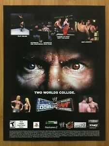 WWE-Smackdown-vs-Raw-PS2-2004-Vintage-Print-Ad-Poster-Vince-McMahon-Official-WWF