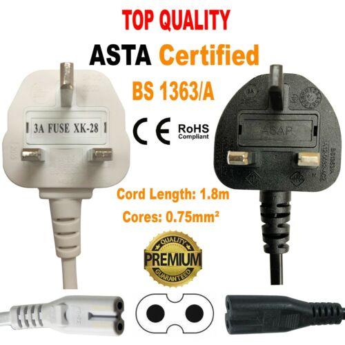 1.8 m IEC C7 FIGURE 8 Huit Secteur Câble D/'alimentation plomb 1.8 m Long Noir
