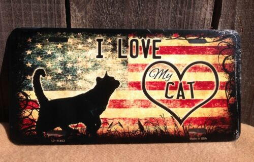 I Love My Cat American Flag Wholesale Metal Novelty Wall Decor License Plate