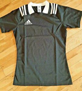Details about Adidas Plain Black 3 White Stripes Pro Fit Rugby Shirt Jersey S M L XXL 2XL New