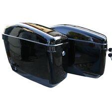 Black Hard Saddle Bags Trunk Luggage Motorcycle Cruiser w/ Mounting Brackets
