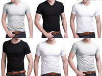 Mens Slim Fit V-neck/ Crew neck T-shirt Tops Short Sleeve Muscle Tee Basic T ina