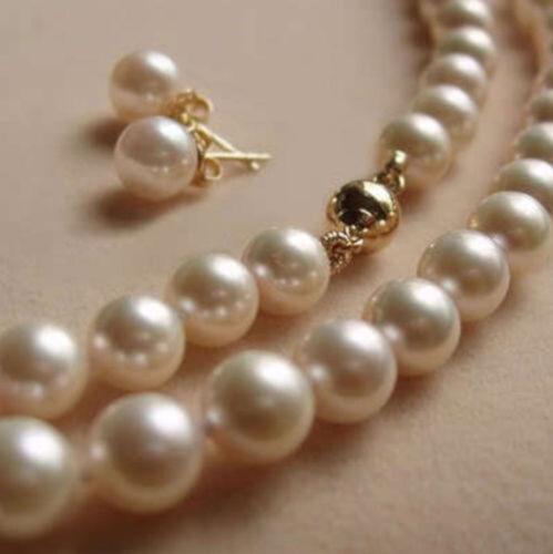 "8 Mm Blanc Akoya Shell Perle Collier Boucle D/'Oreille Set 18/"""