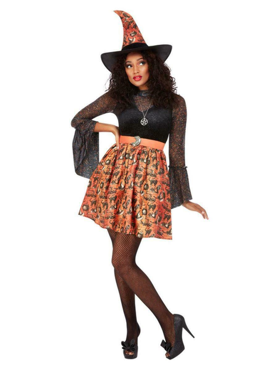 Adult Ladies Orange Vintage Witch Halloween Fancy Dress Costume