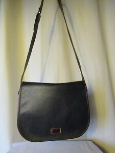 4b434c19a8 sac besace vintage texier toile enduite bleu marine et cuir marron ...