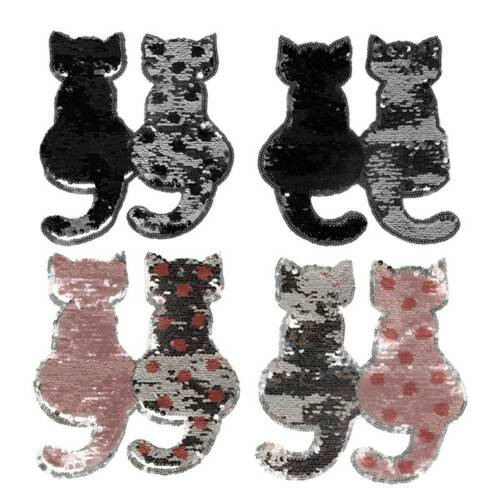 Cute Cat Reversible Change Color Sequins Sew on Clothes DIY Patches Crafts