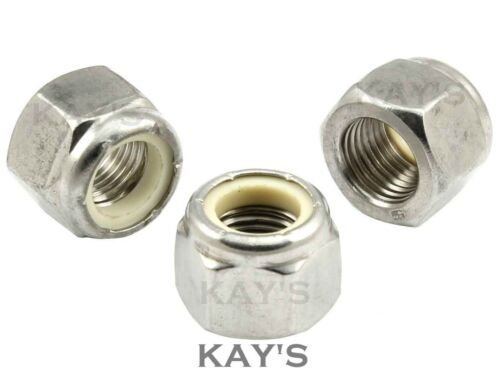 UNC RONDELLE DADI A2 ACCIAIO INOX IMPERIAL Nylon Inserto esagonale dado di bloccaggio Kay/'s
