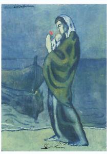 Mutter und Kind am Meer Pablo Picasso Kunstkarte 1902