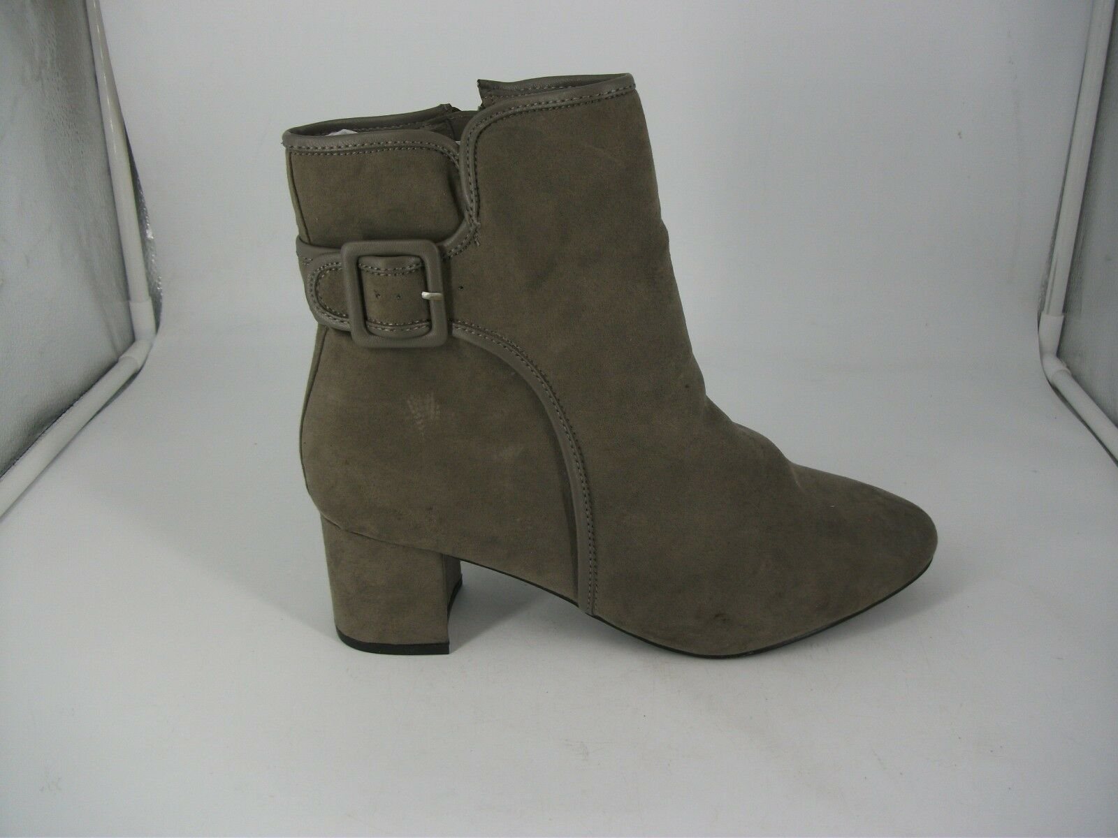 Evans DARCY Grey Suedette Buckle Ankle Boots UK 10 STD Fit JS092 TT 04