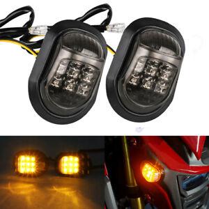 2x Motorcycle LED Amber Flush Mount Turn Signals Indicators Blinker Lights 12V