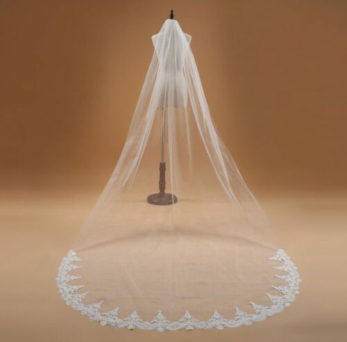 with lace white Wedding-Veil Charming-One-Tier-Bridal-Cathedral l