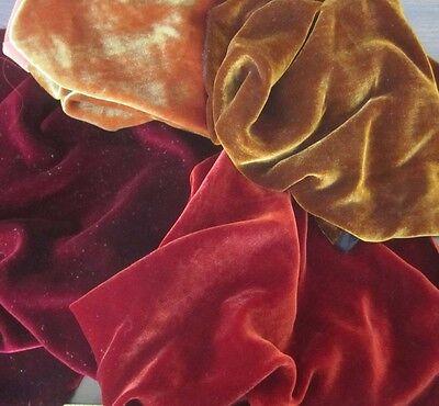 """Silk VELVET Autumn Colors Fabric Sample Set Remnants Lot 6/""""x45/"""" Each"""