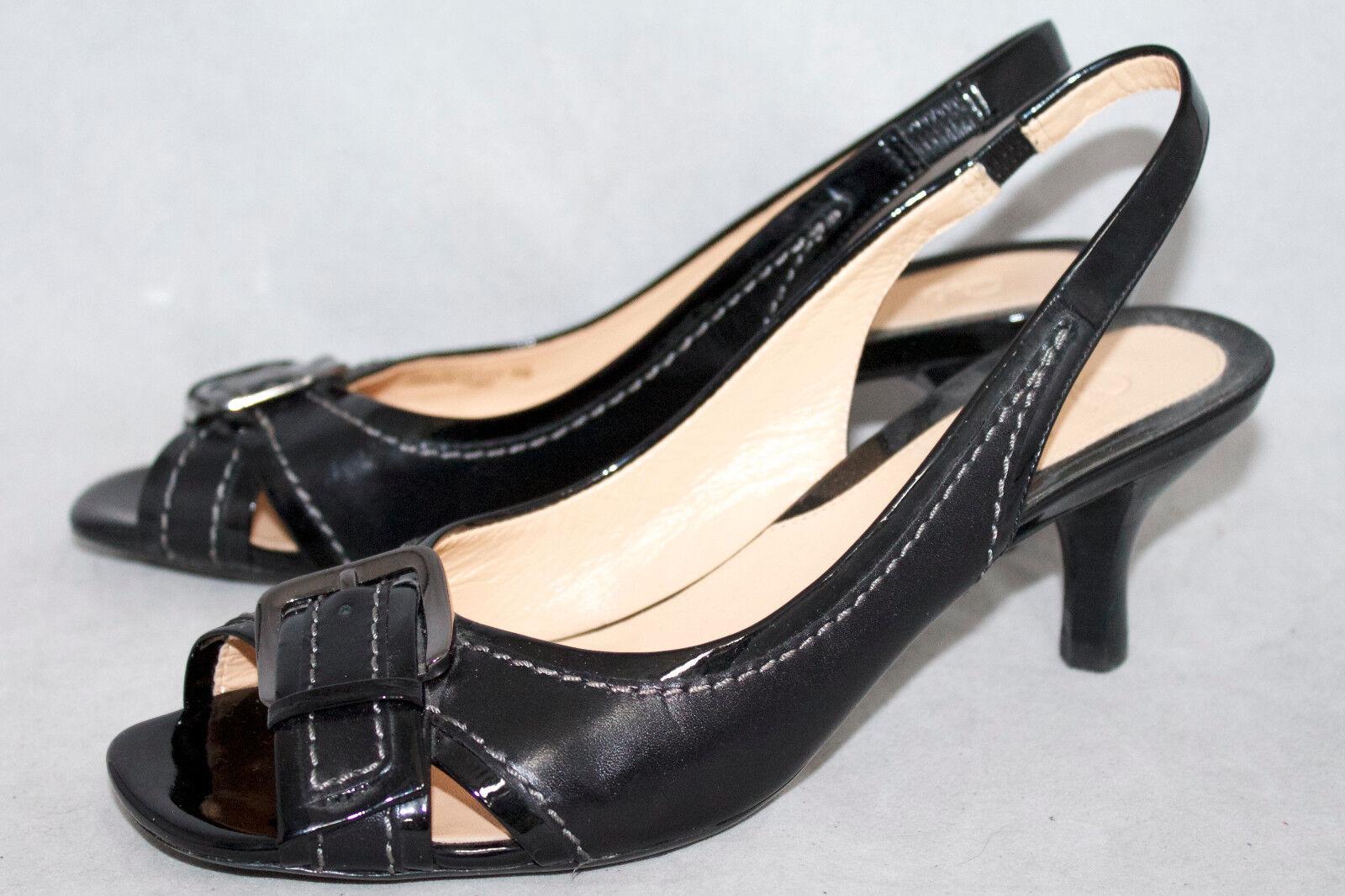 COLE HAAN Wo's 6B Black Patent Slingback Kitten Heel Peep Toe Toe Peep Buckle Pump D28545 cd5e18