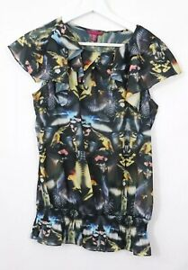 Ted-Baker-Humming-Bird-Blouse-Top-Blouse-Black-Short-Sleeve-Sz-2-10