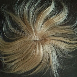 New-100-Human-Hair-Clip-in-Extensions-Toupee-Hairpiece-Breathable-Dark-Blonde